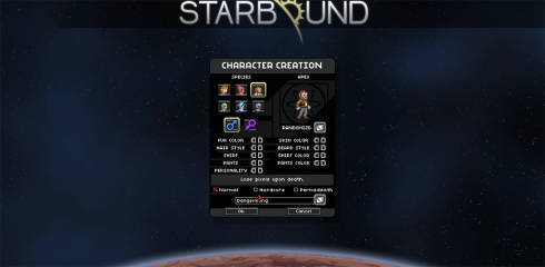 Starbound character creation